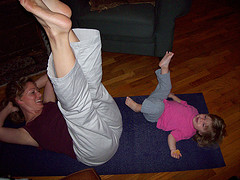 mom and daughter yoga