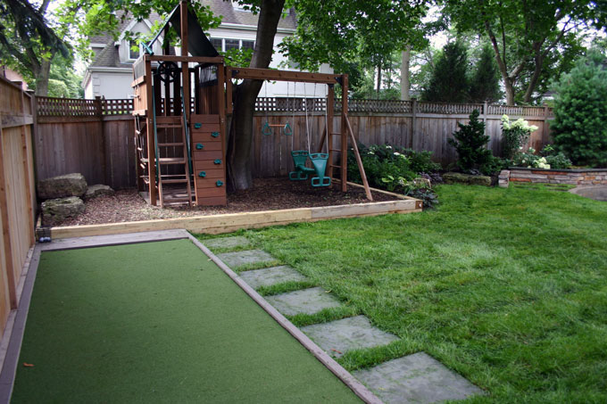 backyard with playground