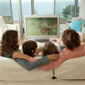 family watching cable TV