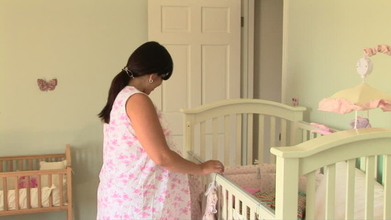 woman preparing nursery